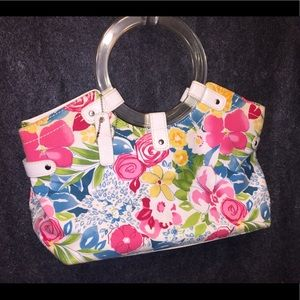 Relic's Floral on White Bag , acrylic handle rings
